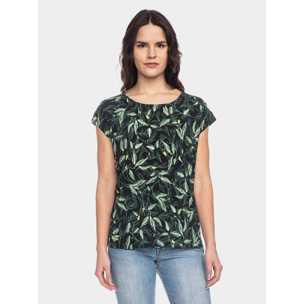 ATO Berlin   Shirt Leandra zwart met groen blad en bloem motief