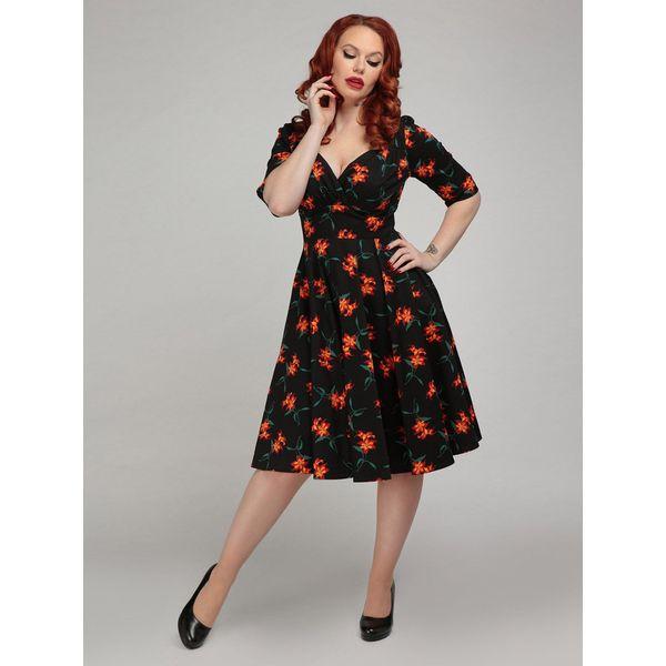 Collectif | Zwarte jurk Trixie Midnight met oranje lelies