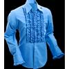 Afbeelding van Chenaski | Overhemd ruche mid-blue dark blue trim