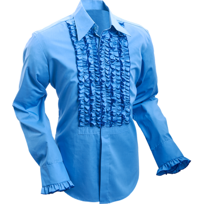 Chenaski | Overhemd ruche mid-blue dark blue trim