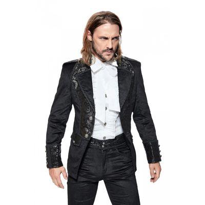 Foto van Pentagramme | Korte fluwelen Gothic jas met sierbiezen