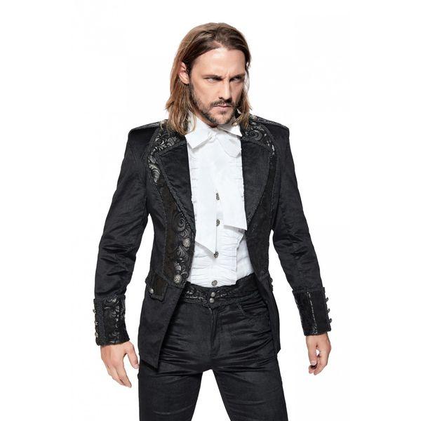 Pentagramme | Korte fluwelen Gothic jas met sierbiezen