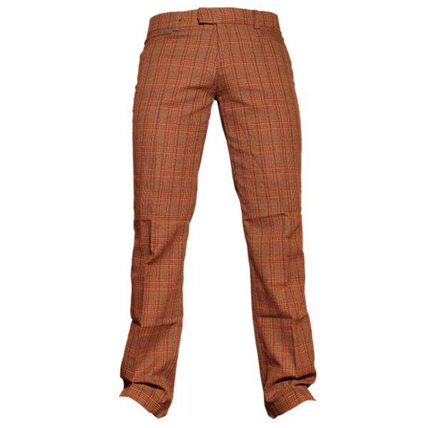 Chenaski   Rechte pantalon met bruin rode Scot ruit