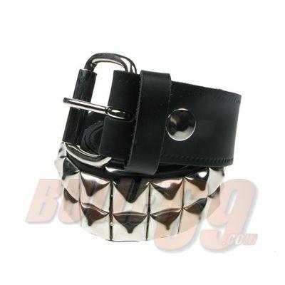 Foto van B018-Bullet69-Leren riem, 38mm zwart met twee rijen zilverkleurig (15 mm) piramide studs