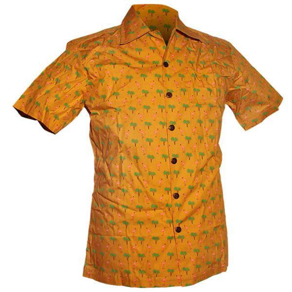 Chenaski | Overhemd korte mouw, Flamingo mosterd