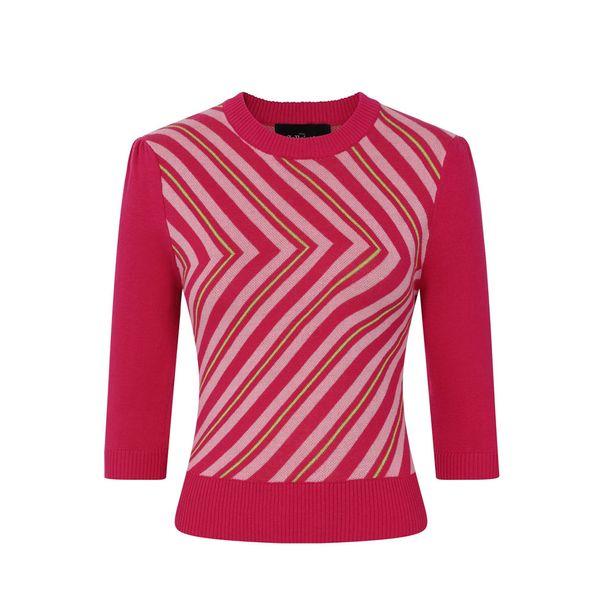 Collectif | Roze V-gestreepte jumper Christie