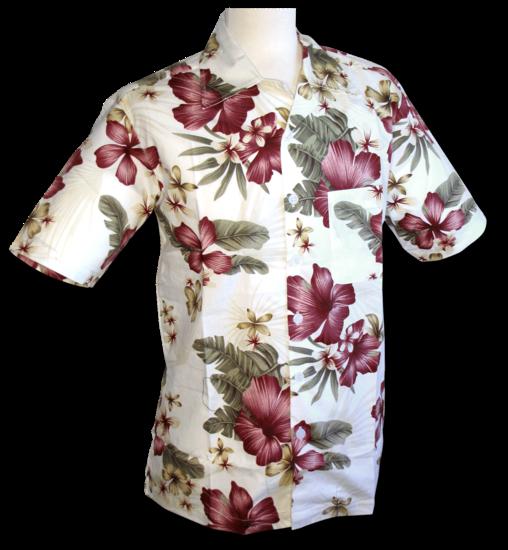 Chenaski   Overhemd korte mouw jungle flowers creme