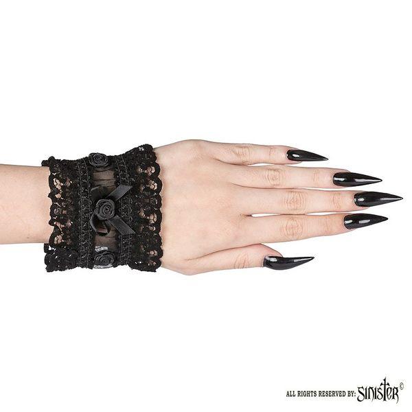 Sinister   Cuffs Fawn, zwart pols-accessoires van kant met roosjes