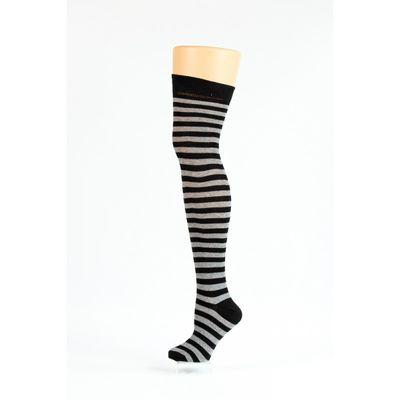 Foto van Flirt | Overknee sokken zwart grijs gestreept