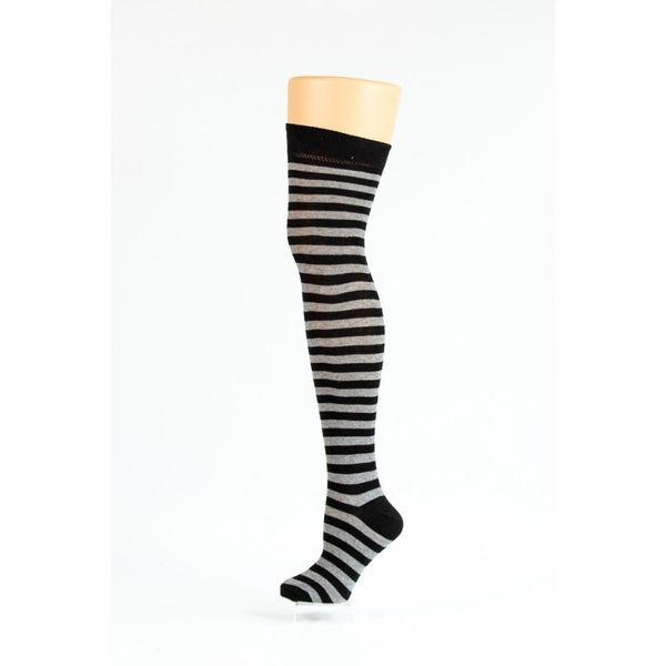 Flirt   Overknee sokken zwart grijs gestreept