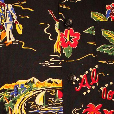 Foto van Chenaski | Overhemd korte mouw, Aloha zwart