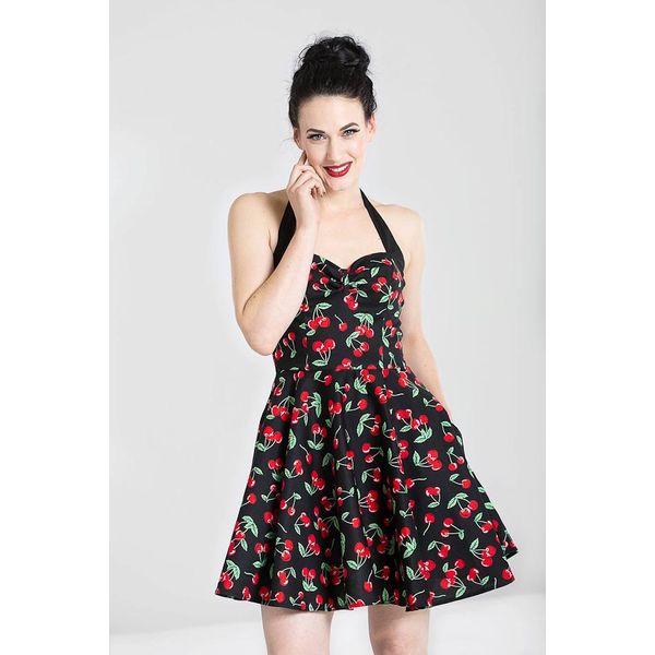 Hell Bunny | Mini jurk Cherry Pop, zwart met rode kersen