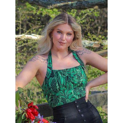 Foto van Collectif   Haltertop Kaylee Tropics groen