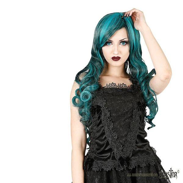 Sinister | Top Lilith, zwart fluweel met kant en strikjes