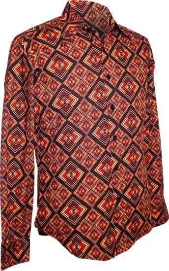 Chenaski   overhemd seventies, Rhombus donker bruin