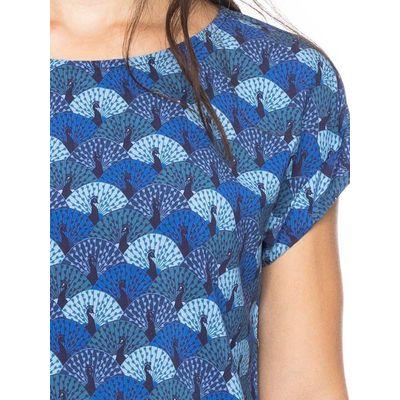 Foto van ATO Berlin | shirt Leo blauw met pauwen print dessin