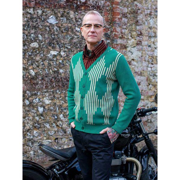 Collectif | Groen gebreid 50's vest Dave Caledonian