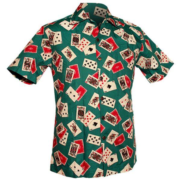 Chenaski | Overhemd korte mouw, Cards turquoise