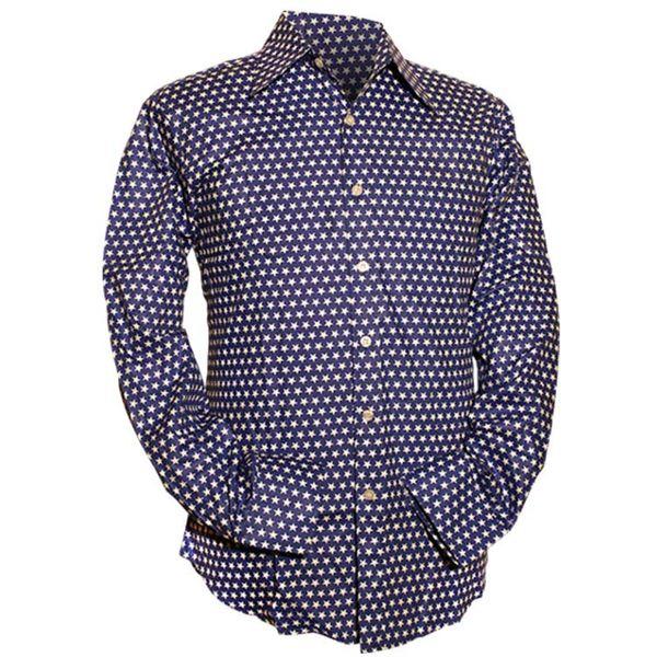 Chenaski   Blauw wit seventies overhemd Stars