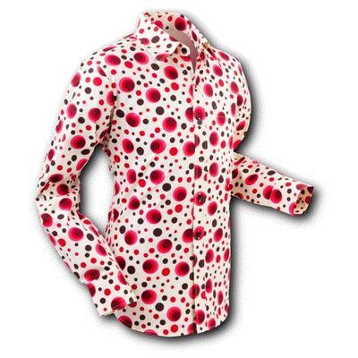 Chenaski   overhemd Seventies Dots and Spots Red