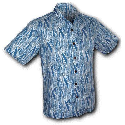 Foto van Chenaski | Overhemd korte mouw, Leaves, blauw wit