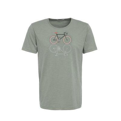 Foto van Green Bomb | T-shirt bike shape, bio katoen olijf groen