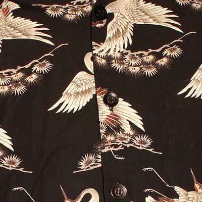 Foto van Chenaski | Overhemd korte mouw, Kraanvogels zwart