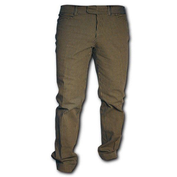 Chenaski | Retro broek recht model, denim met zand-strepen