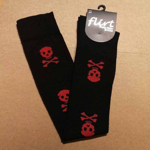 Flirt   Overknee sokken zwart met rode skulls