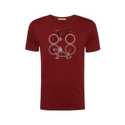 Green Bomb | T-shirt Bike Shape, bordeaux rood bio katoen