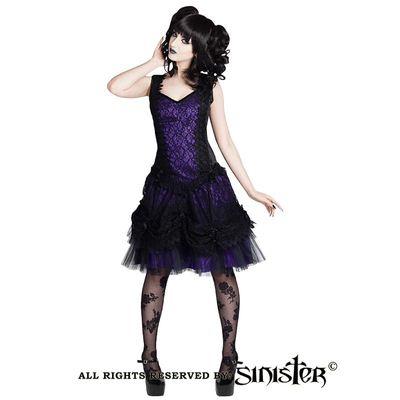 Foto van Sinister - Jurk Adelina kort, met sweetheart halslijn, zwart paars