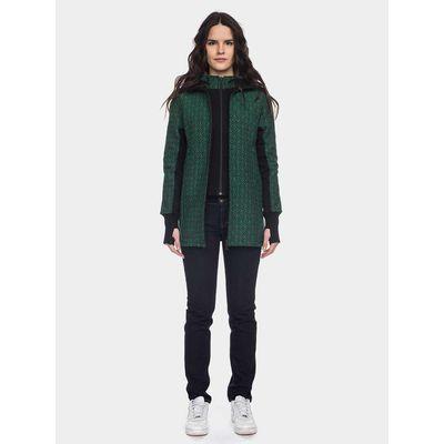 ATO Berlin - jas Lulu, dubbel voorpand, capuchon, retro groen zwart