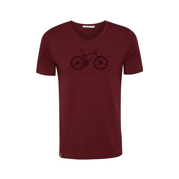 Green Bomb | T-shirt bordeaux Bike Root, bio katoen