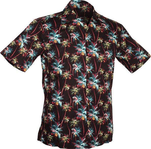 Chenaski | Overhemd korte mouw, Palm Trees, zwart