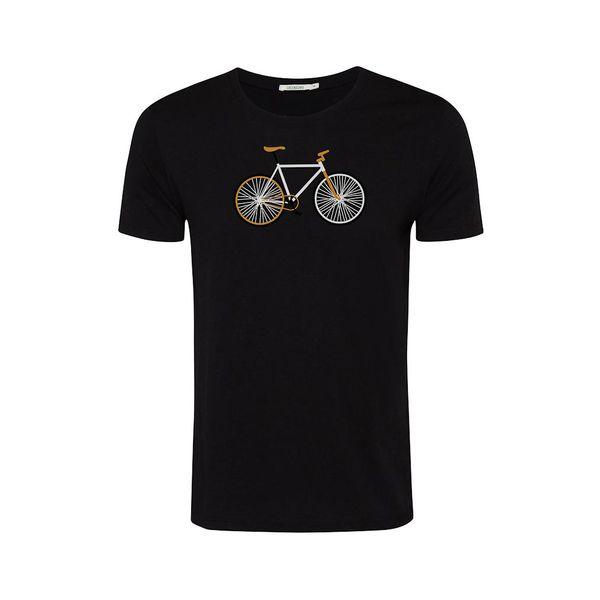 Green Bomb | T-shirt zwart Bike Easy, bio katoen