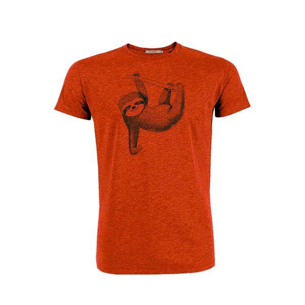 Green Bomb | T-shirt oranje Animal Sloth bio katoen