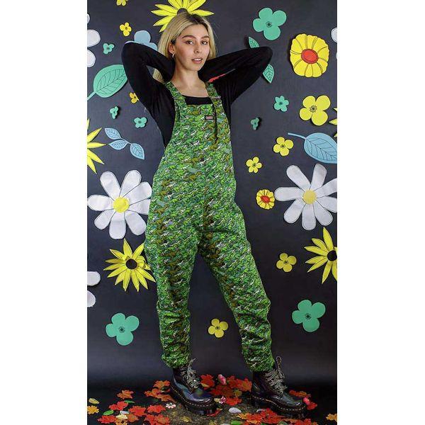 Run & Fly   Groene tuinbroek met camouflage dino print, unisex