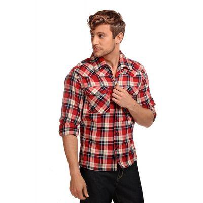Foto van Overhemd Tiago, lange mouw, schotse ruit, tartan rood