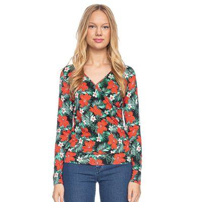 Foto van Ato Berlin, overslag shirt Emma met tropische bloemen print