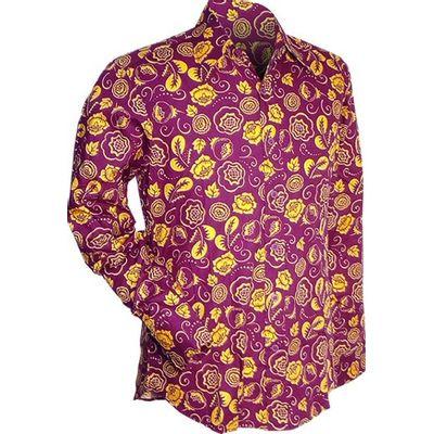 Chenaski   overhemd seventies, outline flowers violet geel