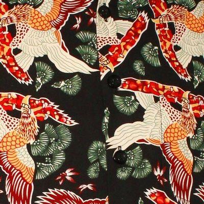 Foto van Chenaski | Overhemd korte mouw, Amber eagle, black