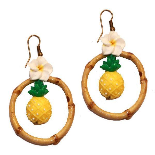 Miranda's Choice - Oorbellen met ananas in bamboering met bloem