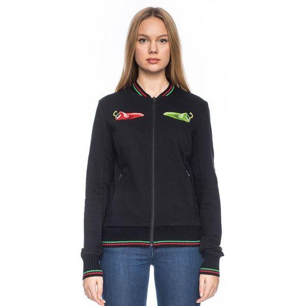Sportjas Anne, zwart chili peper borduursels en gekleurde boorden