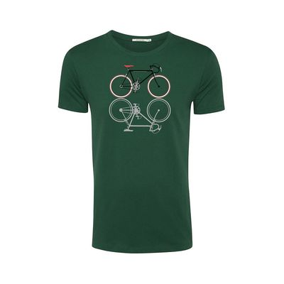 Foto van Green Bomb | T-shirt Bike Shape, bottle green bio katoen