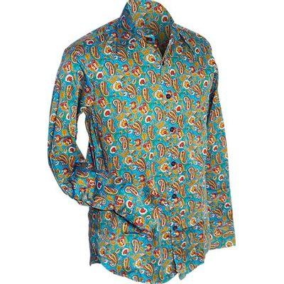 Foto van Chenaski   0verhemd seventies, Paisley en bloemen turquoise