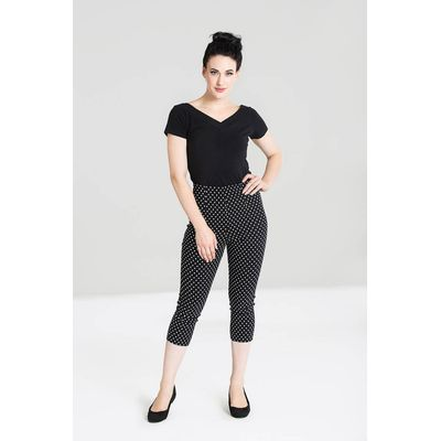 Foto van Hell Bunny | Capri broek Kay zwart met witte polkadot