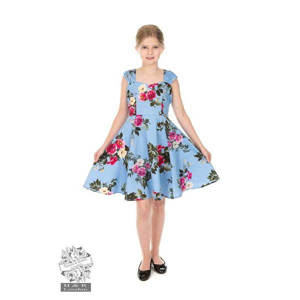 Hearts and Roses | Kinderjurk Jolene blauw met rozen