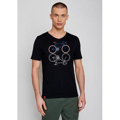 Foto van Green Bomb | T-shirt zwart Bike Shape, bio katoen