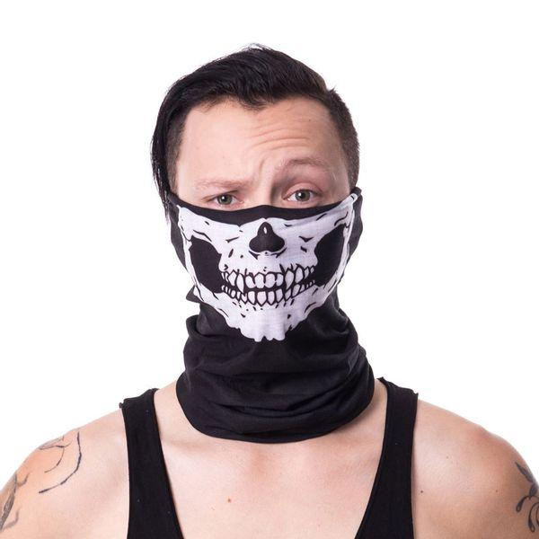 Poizen Industries   Sjaal masker zwart met skull print