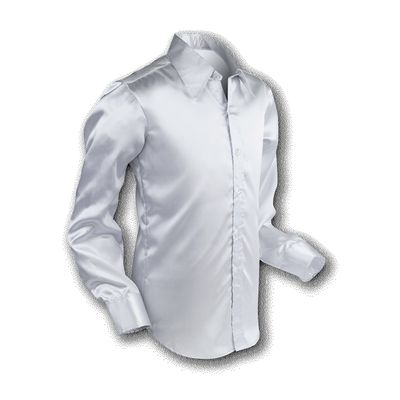 Chenaski | Overhemd 70s Basic Silver-Satin